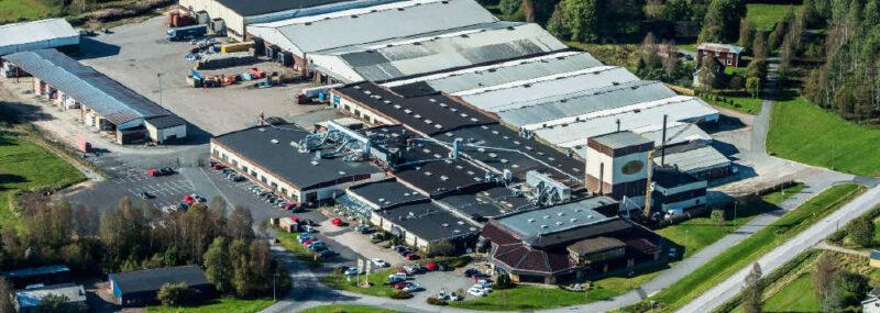 Flygfoto av Hillerstorps fabrik